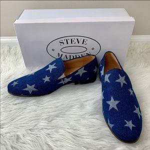 STEVE MADDEN Lodestar Denim Loafers Stars 9 NIB